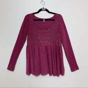 Free People Purple Embroidered Babydoll Top